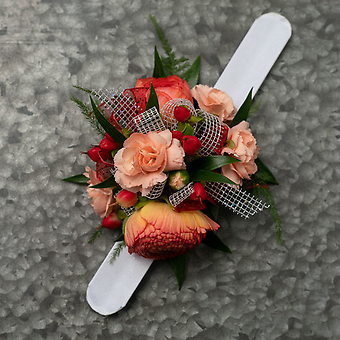 Peach and Coral Wrist Corsage