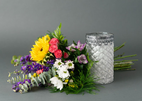 Bright Colored Hand-tied with Vase