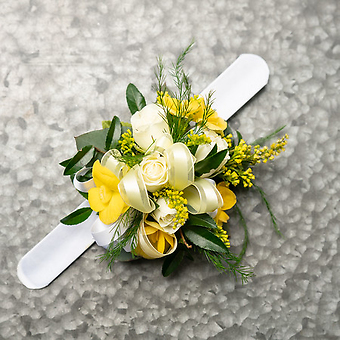 Yellow and White Wrist Corsage
