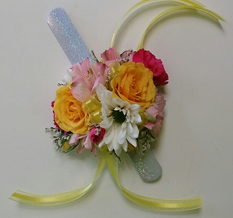 Spring Yellow and Pink Wrist Corsage