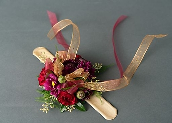 Plum and Burgundy Wrist Corsage