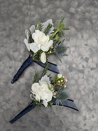 Navy Blue and White Prom Boutonniere